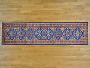 Denim Blue Tribal Design Rug Handmade Runner Super Kazak
